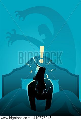 Vector Illustration Of A Man Wake Up In The Middle Of The Night, Stressed And Scared From Nightmare.
