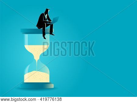 Vector Illustration Of A Businessman Sitting With Laptop On Hourglass. Time Management. Deadline Con