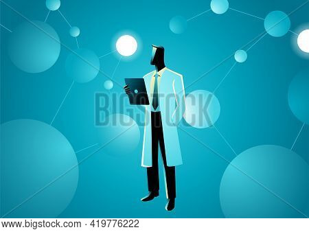 Vector Illustration Of A Scientist In Lab Coat In The Middle Of Artificial Neurons. Research, Scienc