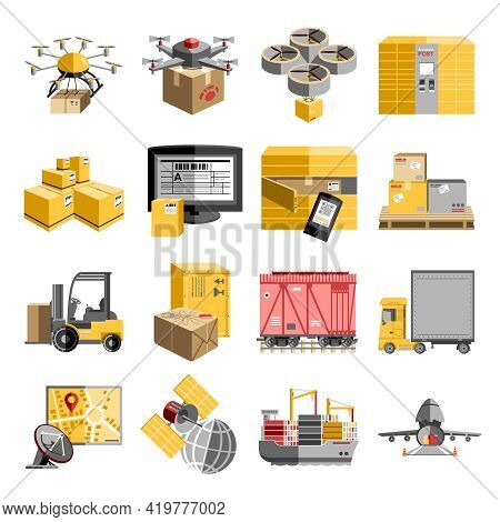 New Logistics Unmanned Decentralized Delivery Systems Flat Pictograms Collection With Flying Drone