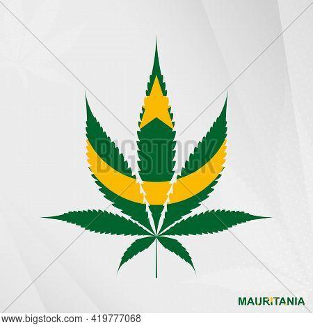 Flag Of Mauritania In Marijuana Leaf Shape. The Concept Of Legalization Cannabis In Mauritania. Medi