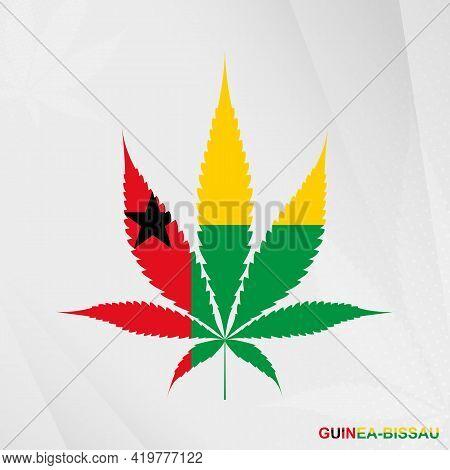 Flag Of Guinea-bissau In Marijuana Leaf Shape. The Concept Of Legalization Cannabis In Guinea-bissau
