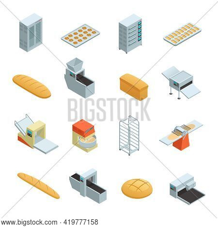 Colored And Isolated Bakery Factory Isometric Icon Set With Elements And Tools For Baking Bread Vect