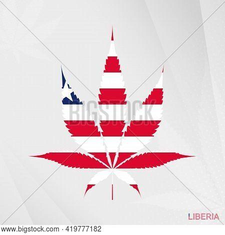 Flag Of Liberia In Marijuana Leaf Shape. The Concept Of Legalization Cannabis In Liberia. Medical Ca