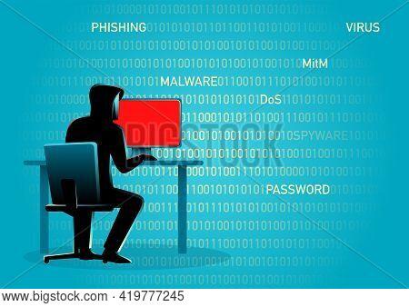 Concept Illustration Of A Hacker Behind Desktop Computer