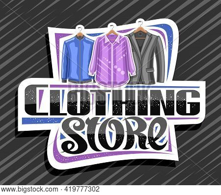 Vector Logo For Clothing Store, White Decorative Sign Board With Illustration Of Hanging Purple Wome