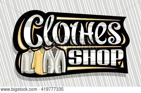 Vector Signage For Clothes Shop, Black Decorative Sign Board With Illustration Of Hanging Grey Men's