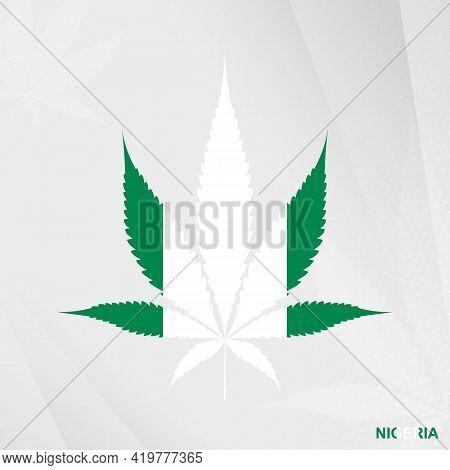 Flag Of Nigeria In Marijuana Leaf Shape. The Concept Of Legalization Cannabis In Nigeria. Medical Ca