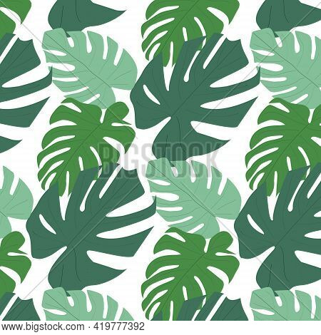 Vector Light Tropical Leaves Summer Hawaiian Seamless Pattern With Tropical Green Plants And Leaves
