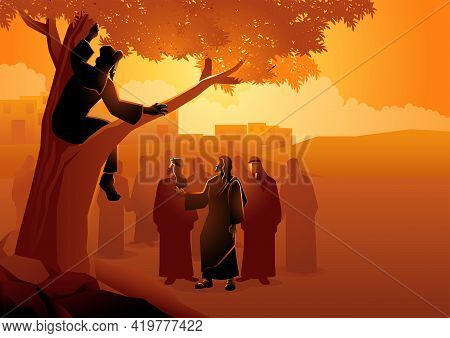 Biblical Vector Illustration Series, Zacchaeus Climbed Up Into A Sycamore Tree To Have A Better View