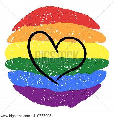 Lgbt Pride Heart Lesbian, Gay, Bisexual, Transgender. Rainbow Flag. Lgbtq Heart. Gay And Lesbian Lov