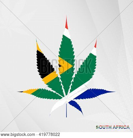 Flag Of South Africa In Marijuana Leaf Shape. The Concept Of Legalization Cannabis In South Africa.