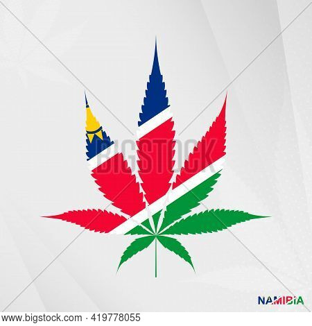 Flag Of Namibia In Marijuana Leaf Shape. The Concept Of Legalization Cannabis In Namibia. Medical Ca