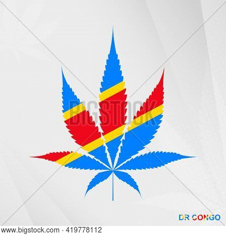 Flag Of Dr Congo In Marijuana Leaf Shape. The Concept Of Legalization Cannabis In Dr Congo. Medical
