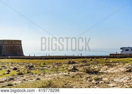 Seaside Landscape With Caravan Visitng Coastal Fortification, Castle Guardias Viejas, Almer