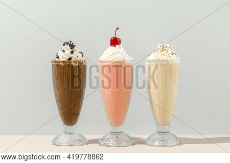 Mixed flavor milkshakes at a cafe