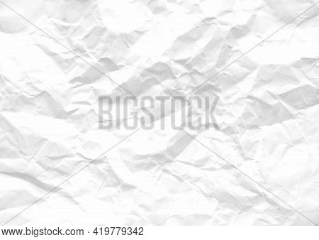 Crumpled Paper Abstract Background Texture. Texture Of White Crumpled Paper Background