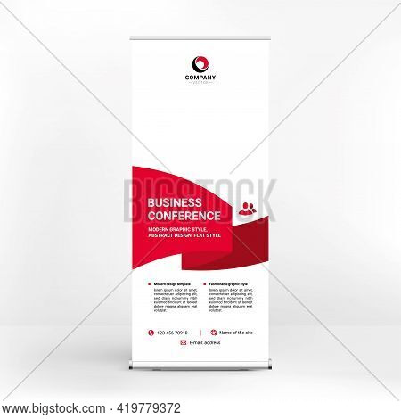 Roll-up Banner Design, Creative Geometric Style, Stand For Advertising Products And Services, Banner