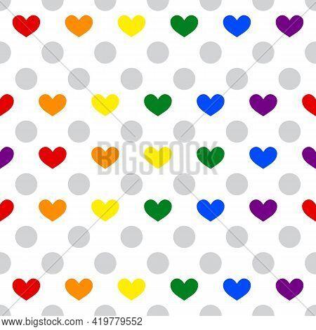 Lgbt Pride Heart Lesbian, Gay, Bisexual, Transgender. Pattern Seamless Rainbow Flag. Lgbtq Heart Bac