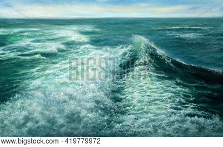 Original Oil Painting Showing Waves In  Ocean Or Sea On Canvas. Modern Impressionism, Modernism,mari