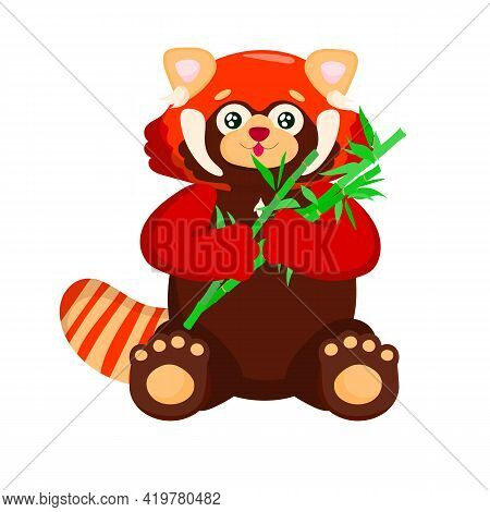 Sitting Cute Red Panda With Bamboo. Little Panda. Ailurus Fulgens In Front Of A White Background.