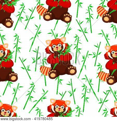 Seamless Pattern With Sitting Cute Red Panda With Bamboo. Little Panda. Pattern With Ailurus Fulgens