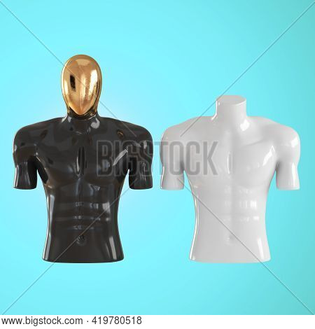Black Male Plastic Torso With A Golden Head And A White Headless Torso On A Light Blue Background. F