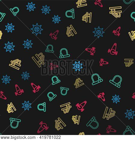 Set Line Bicycle Sprocket Crank, Lock, Parking And Chain With Gear On Seamless Pattern. Vector