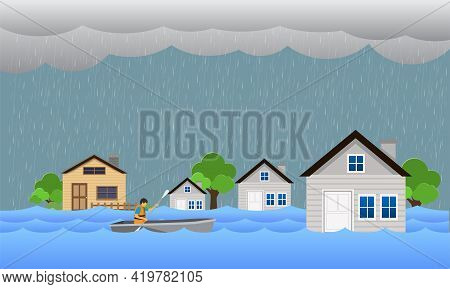 Flood Natural Disaster With House, Heavy Rain And Storm , Damage With Home, Flooding Water In City