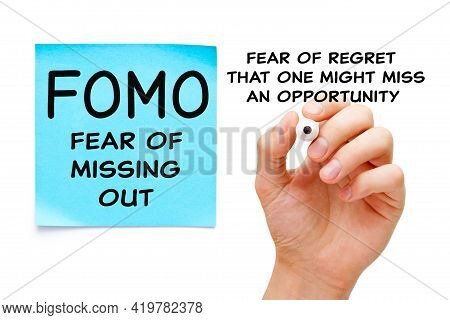 Hand Writing A Concept About Fear Of Missing Out - Fomo Social Anxiety Disorder. Fear Of Regret That