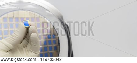 Silicon Wafer With Microchips, Fixed In A Holder With A Steel Frame On A Gray Background After The P