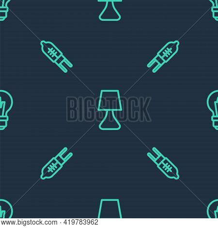 Set Line Table Lamp, Light Emitting Diode And Bulb On Seamless Pattern. Vector