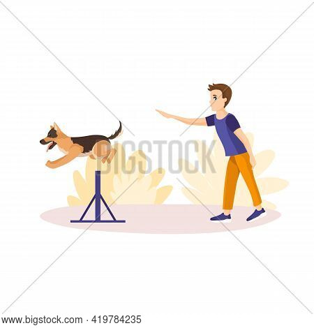 Vector Illustration In Cartoon Style Isolated On White Background. Boy Training His Pet In The Park.