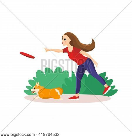 Vector Illustration In Cartoon Style Isolated On White Background. Girl Throwing A Frisbey To Her Pe