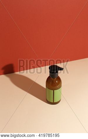 Beauty Natural Skincare Products Development Concept. Dermatologist Cosmetic Skincare Bottle With Pu