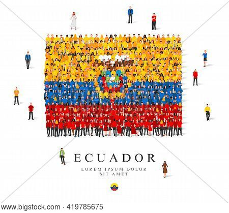 A Large Group Of People Are Standing In Yellow, Blue And Red Robes, Symbolizing The Flag Of Ecuador.