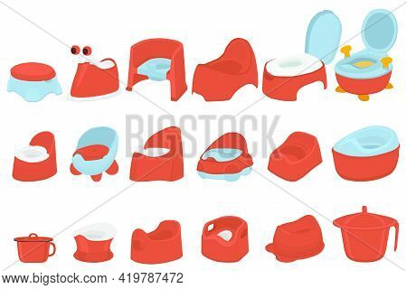 Illustration On Theme Kit Plastic Baby Pots With Comfortable Handle, Kid Potty For Wc. Pattern Potty