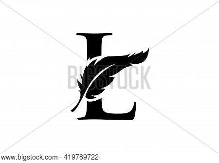 Feather Logo Design  With L Letter Vector. Law Logo With Feather And L Letter