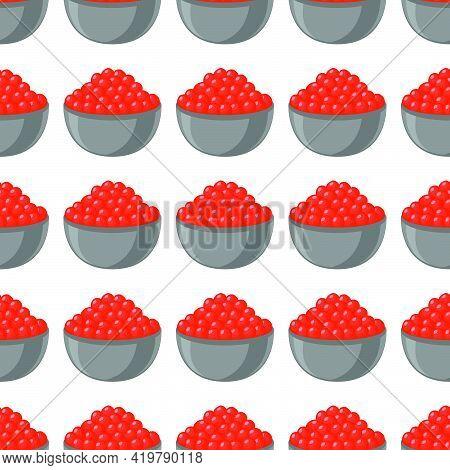 Illustration On Theme Big Pattern Identical Types Fish Caviar, Egg Equal Size. Egg Pattern Consistin