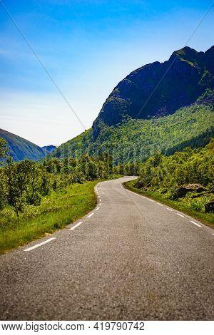 Road Through Gimsoya Island Landscape In Vagan Municipality Nordland County, Lofoten Archipelago Nor