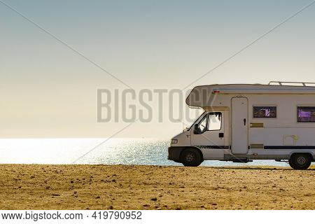 Rv Caravan Camping On Empty Beach