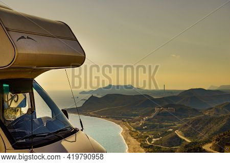 Camper Rv On Viewpoint In Spain
