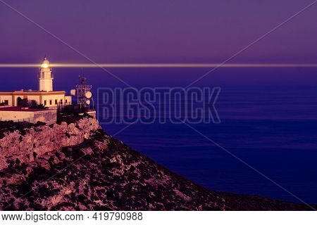 Mesa Roldan Lighthouse At Evening, Cabo De Gata Nijar Natural Park In Almeria Province, Andalusia Sp