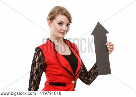 Make Choice Concept. Elegant Woman In Red With Big Black Arrow Sin Symbol Pointing. Young Girl Prese