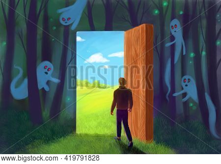Surrealism, Analogy. Depression Recovery, Psychological Recovery. A Man Going Out A Light Door, Ghos