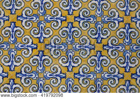 Beautiful Ornament On Ceramic Vintage Tiles In Blue And Yellow Tones. Spanish Style Ceramic Tiles
