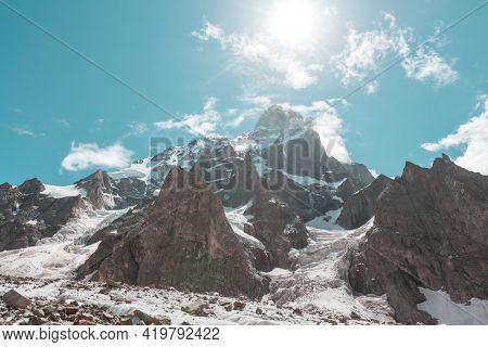 Famous Ushba peak, Caucasus Mountains. Svaneti