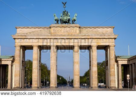 The Famous Brandenburg Gate In Berlin Early In The Morning With No People