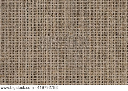 Top View Of Natural Brown Hessian Or Burlap Cloth Or Gunny Sack, Formed Of Jute. Abstract Texture Ba