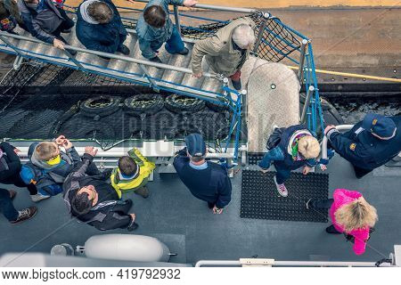 Hamburg, Germany - May 6, 2017: Passengers Boarding On Ship, Top Down View, Group Of People, Hamburg